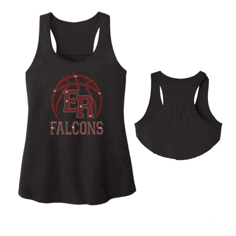 ER Basketball -East River Falcons- High School - Ladies Racerback Tank ladies racerback tank Becky`s Boutique Extra Small