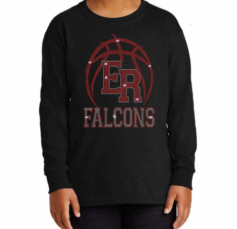 ER Basketball -East River Falcons- High School - Youth Long Sleeve Youth Long Sleeve Becky`s Boutique Extra Small