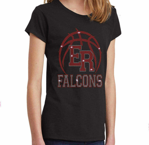 ER Basketball -East River Falcons- High School - Youth Short Sleeve Youth Short Sleeve Becky`s Boutique Extra Small