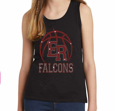 ER Basketball -East River Falcons- High School - Youth Tank Youth Tank Becky`s Boutique Extra Small