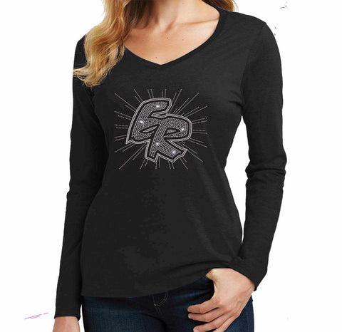 ER Spiral-East River Falcons- High School - Ladies Long Sleeve V-Neck Ladies Long Sleeve V-neck Becky`s Boutique Extra Small