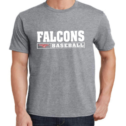 Image of ERHS Falcons Baseball- East River High School Dri-Fit Short Sleeve Shirt dri-fit t-shirt Becky's Boutique Small Gray