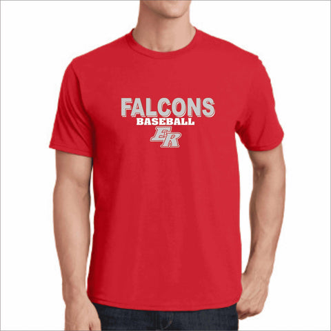 ERHS Falcons Baseball- East River High School Dri-Fit Short Sleeve Shirt dri-fit t-shirt Becky's Boutique Small Red