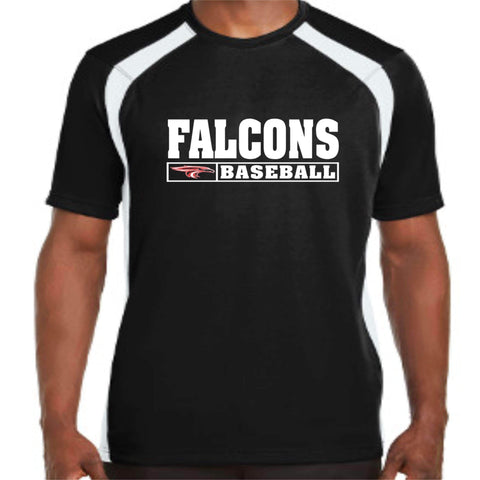 ERHS Falcons Baseball - Short Sleeve Dri-fit Hook shirt Black Mens Dri-Fit Becky's Boutique Extra Small