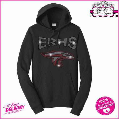 ERHS with Falcon Head- High School - Hoodie Sweatshirt Hoodie Sweatshirt Becky`s Boutique Extra Small