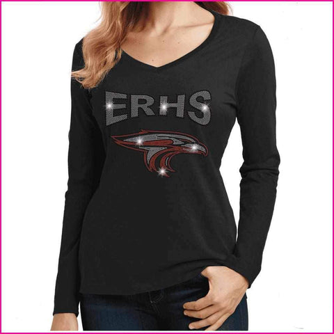 ERHS with Falcon Head- High School - Ladies Long Sleeve V-Neck Ladies Long Sleeve V-neck Becky`s Boutique Extra Small