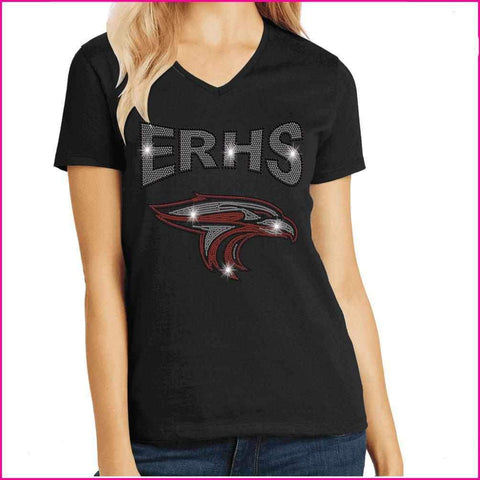 ERHS with Falcon Head- High School Spangle Rhinestone Bling shirt Schools Becky's Boutique Extra Small Short Sleeve V-Neck