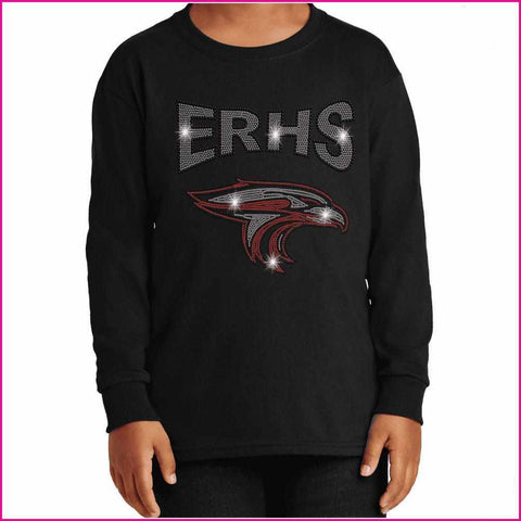ERHS with Falcon Head- High School - Youth Long Sleeve Youth Long Sleeve Becky`s Boutique Extra Small