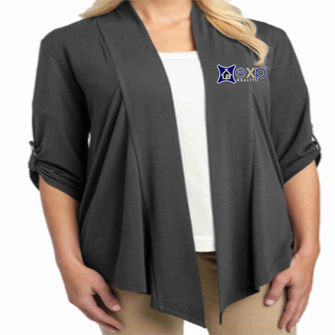 Image of EXP Realty- Ladies Cardigan 3/4 Button Down Beckys-Boutique.com Extra Small Gray