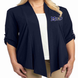 EXP Realty- Ladies Cardigan 3/4 Button Down Beckys-Boutique.com Extra Small Navy