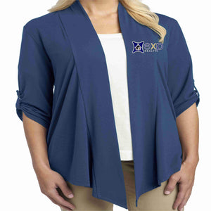 EXP Realty- Ladies Cardigan 3/4 Button Down Beckys-Boutique.com Extra Small Royal Blue
