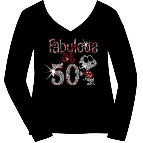 Image of Fabulous at 50 Birthday Cool Dog Ladies Holographic Spangle Bling Short Sleeve V-Neck, Long Sleeve V-Neck, Racerback Tank, Unisex Hooded Sweatshirt-Birthday-Becky's Boutique-XS-Long Sleeve V-Neck-Beckys-Boutique.com