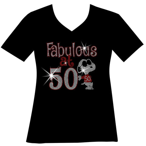 Image of Fabulous at 50 Birthday Cool Dog Ladies Holographic Spangle Bling Short Sleeve V-Neck, Long Sleeve V-Neck, Racerback Tank, Unisex Hooded Sweatshirt-Birthday-Becky's Boutique-XS-Short Sleeve V-Neck-Beckys-Boutique.com