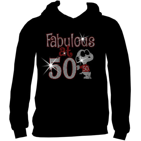 Fabulous at 50 Birthday Cool Dog Ladies Holographic Spangle Bling Short Sleeve V-Neck, Long Sleeve V-Neck, Racerback Tank, Unisex Hooded Sweatshirt-Birthday-Becky's Boutique-XS-Unisex Hooded Sweatshirt-Beckys-Boutique.com