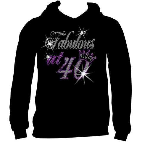 Fabulous at Personalized Age Birthday Holographic Spangle Bling Short Sleeve V-Neck, Long Sleeve V-Neck, Racerback Tank, Unisex Hooded Sweatshirt-LS Shirt, SS Shirt, Racerback tank and hoodie-Becky's Boutique-XS-Unisex Hooded Sweatshirt-Beckys-Boutique.com