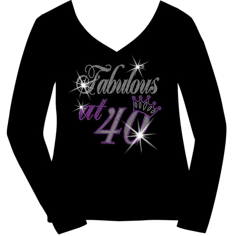 Fabulous at Personalized Age Birthday Holographic Spangle Bling Short Sleeve V-Neck, Long Sleeve V-Neck, Racerback Tank, Unisex Hooded Sweatshirt-LS Shirt, SS Shirt, Racerback tank and hoodie-Becky's Boutique-XS-Long sleeve V-Neck-Beckys-Boutique.com