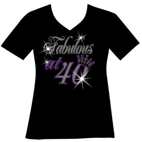Fabulous at Personalized Age Birthday Holographic Spangle Bling Short Sleeve V-Neck, Long Sleeve V-Neck, Racerback Tank, Unisex Hooded Sweatshirt-LS Shirt, SS Shirt, Racerback tank and hoodie-Becky's Boutique-XS-Short Sleeve V-Neck-Beckys-Boutique.com