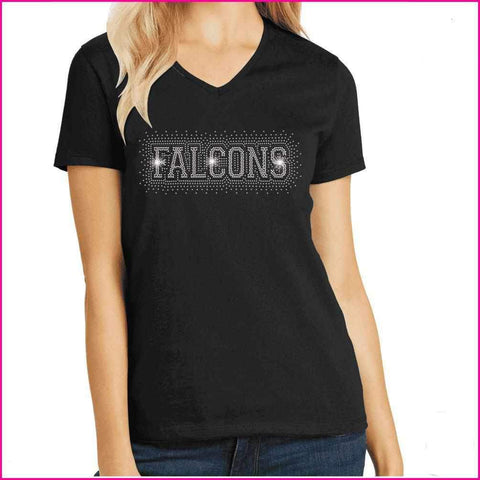 Falcons Firework - East River High School Spangle Rhinestone Bling shirt Schools Becky's Boutique Extra Small Short Sleeve V-Neck