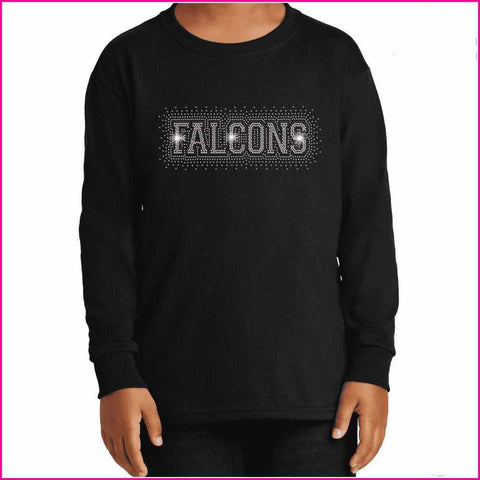 Falcons Firework - East River High School Spangle Rhinestone Bling shirt - Youth Long Sleeve Youth Long Sleeve Becky`s Boutique Extra Small