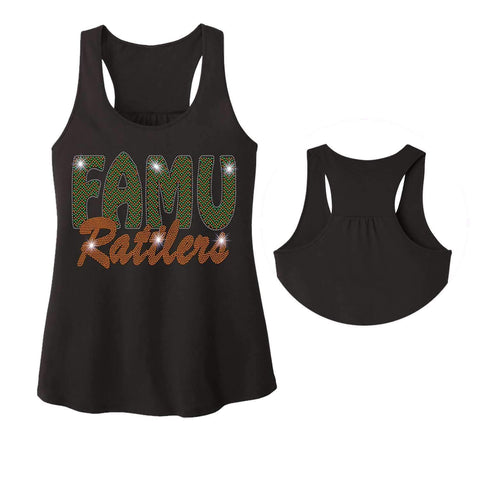 FAMU Rattlers - Florida A & M University Spangle Rhinestone Bling shirt - Ladies Racerback Tank ladies racerback tank Becky`s Boutique Extra Small