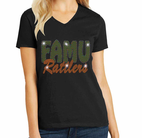 FAMU Rattlers - Florida A & M University Spangle Rhinestone Bling shirt - available in adult, youth, short, long sleeve, tank or hoodie sweatshirt Colleges Becky's Boutique Womens Extra-small Womens short sleeve V-neck