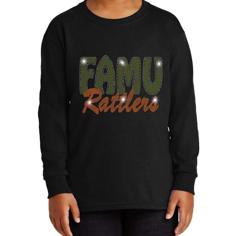 FAMU Rattlers - Florida A & M University Spangle Rhinestone Bling shirt - Youth Long Sleeve Youth Long Sleeve Becky`s Boutique Extra Small