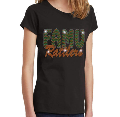 FAMU Rattlers - Florida A & M University Spangle Rhinestone Bling shirt - Youth Short Sleeve Youth Short Sleeve Becky`s Boutique Extra Small