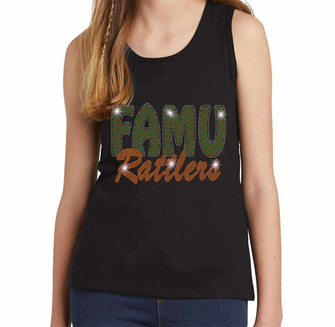 FAMU Rattlers - Florida A & M University Spangle Rhinestone Bling shirt - Youth Tank Youth Tank Becky`s Boutique Extra Small