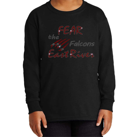 Fear the FALCONS-East River Falcons- High School - Youth Long Sleeve Youth Long Sleeve Becky`s Boutique Extra Small