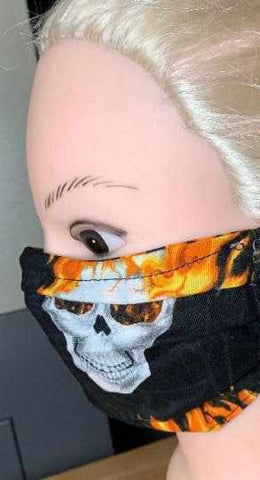 Image of Fire Skulls Face Mask, Adult and Child Sizes, For dust, travel, pet grooming, gardening and medical. Washable, Reusable with adjustable nose piece Face Mask Beckys-Boutique.com