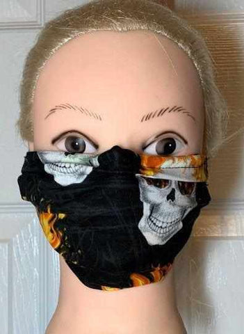 Image of Fire Skulls Face Mask, Adult and Child Sizes, For dust, travel, pet grooming, gardening and medical. Washable, Reusable with adjustable nose piece Face Mask Beckys-Boutique.com Adult