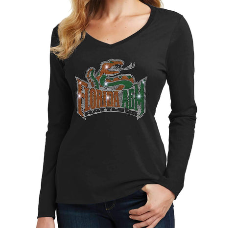 Florida A&M University Spangle Rhinestone Bling shirt - Ladies Long Sleeve V-Neck Ladies Long Sleeve V-neck Becky`s Boutique Extra Small