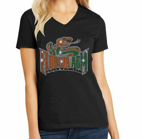 Florida A&M University Spangle Rhinestone Bling shirt - available in adult, youth, short, long sleeve, tank or hoodie sweatshirt Colleges Becky's Boutique Womens Extra-small Womens short sleeve V-neck