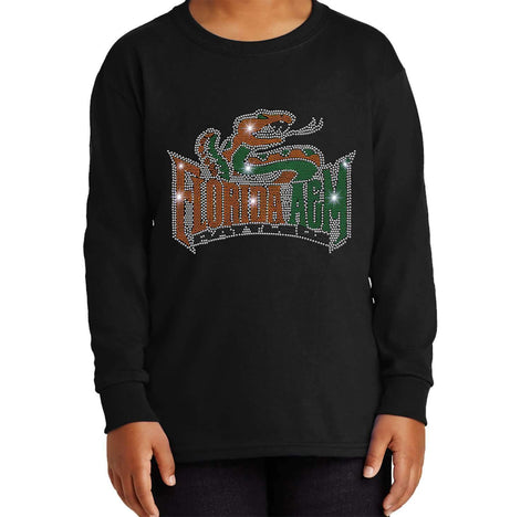 Florida A&M University Spangle Rhinestone Bling shirt - Youth Long Sleeve Youth Long Sleeve Becky`s Boutique Extra Small