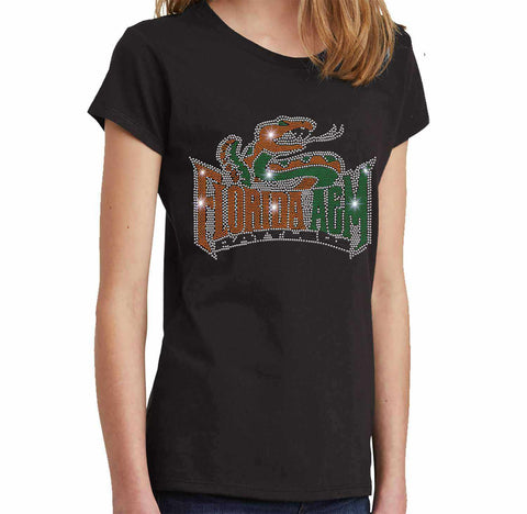 Florida A&M University Spangle Rhinestone Bling shirt - Youth Short Sleeve Youth Short Sleeve Becky`s Boutique Extra Small