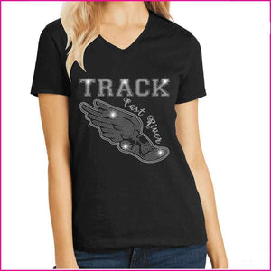 Flying Track Shoe with Wings- East River High School Spangle Rhinestone Bling shirt Schools Becky's Boutique Extra Small Short Sleeve V-Neck