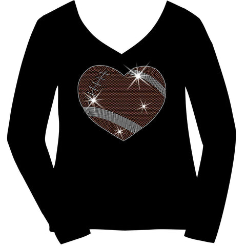 Image of Football Heart Holographic Sparkle Spangle Bling shirt - Ladies Short Sleeve V-Neck, Long Sleeve V-Neck, Racerback Tank, Unisex Hooded Sweatshirt-Long Sleeve V Neck, Short Sleeve V -Neck, Hoodie Sweatshirt-Becky's Boutique-XS-Long Sleeve V-Neck-Beckys-Boutique.com