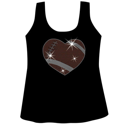 Image of Football Heart Holographic Sparkle Spangle Bling shirt - Ladies Short Sleeve V-Neck, Long Sleeve V-Neck, Racerback Tank, Unisex Hooded Sweatshirt-Long Sleeve V Neck, Short Sleeve V -Neck, Hoodie Sweatshirt-Becky's Boutique-XS-Racerback Tank-Beckys-Boutique.com