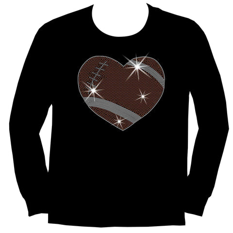Football Heart Holographic Sparkle Spangle, Youth Short Sleeve Crew Neck, Long Sleeve Crew Neck, Tank top, Youth Hooded Sweatshirt-Youth LS, SS, tank and Hoodie-Beckys-Boutique.com-XS-Long Sleeve Crew Neck-Beckys-Boutique.com