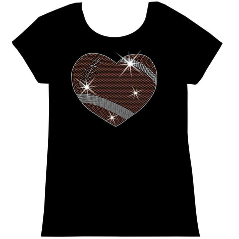 Football Heart Holographic Sparkle Spangle, Youth Short Sleeve Crew Neck, Long Sleeve Crew Neck, Tank top, Youth Hooded Sweatshirt-Youth LS, SS, tank and Hoodie-Beckys-Boutique.com-XS-Short Sleeve Crew Neck-Beckys-Boutique.com