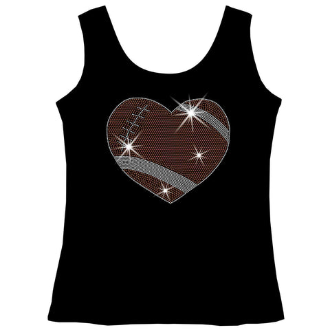 Football Heart Holographic Sparkle Spangle, Youth Short Sleeve Crew Neck, Long Sleeve Crew Neck, Tank top, Youth Hooded Sweatshirt-Youth LS, SS, tank and Hoodie-Beckys-Boutique.com-XS-Tank Top-Beckys-Boutique.com