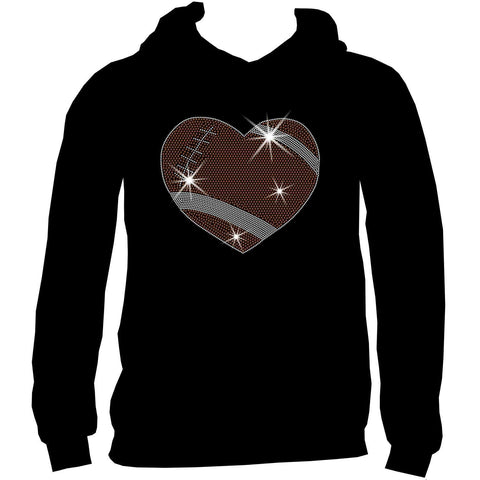 Football Heart Holographic Sparkle Spangle, Youth Short Sleeve Crew Neck, Long Sleeve Crew Neck, Tank top, Youth Hooded Sweatshirt-Youth LS, SS, tank and Hoodie-Beckys-Boutique.com-XS-Youth Hooded Sweatshirt-Beckys-Boutique.com