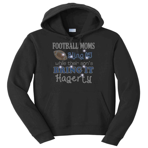 Football Moms Bling it While their son's Bring it - Hagerty Huskies Spangle Rhinestone Bling shirt - Womens Schools Becky's Boutique Womens Extra-small Adult Hooded Sweatshirt Black
