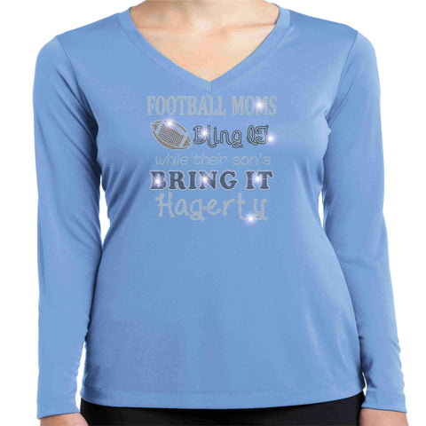 Football Moms Bling it While their son's Bring it - Hagerty Huskies Spangle Rhinestone Bling shirt - Womens Schools Becky's Boutique Womens Extra-small Womens Long Sleeve V-neck Columbia Blue