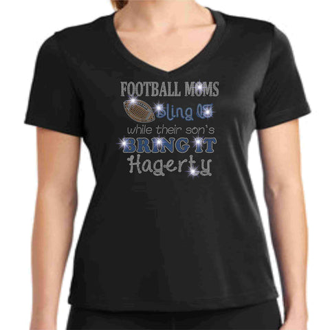 Football Moms Bling it While their son's Bring it - Hagerty Huskies Spangle Rhinestone Bling shirt - Womens Schools Becky's Boutique Womens Extra-small Womens short sleeve V-neck Black