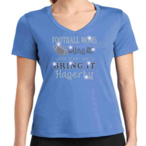 Football Moms Bling it While their son's Bring it - Hagerty Huskies Spangle Rhinestone Bling shirt - Womens Schools Becky's Boutique Womens Extra-small Womens short sleeve V-neck Columbia Blue