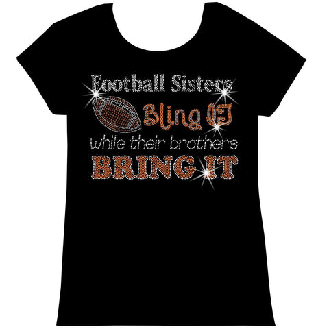 Football Sisters Bling It While Their Brothers Bring It, Holographic Sparkle Spangle, Youth Short Sleeve Crew Neck, Long Sleeve Crew Neck, Tank top, Youth Hooded Sweatshirt-Beckys-Boutique.com-XS-Short Sleeve Crew Neck-Beckys-Boutique.com