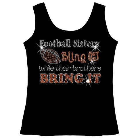 Football Sisters Bling It While Their Brothers Bring It, Holographic Sparkle Spangle, Youth Short Sleeve Crew Neck, Long Sleeve Crew Neck, Tank top, Youth Hooded Sweatshirt-Beckys-Boutique.com-XS-Tank Top-Beckys-Boutique.com