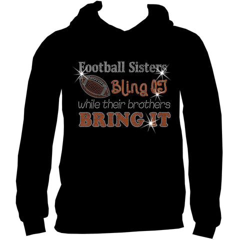 Football Sisters Bling It While Their Brothers Bring It, Holographic Sparkle Spangle, Youth Short Sleeve Crew Neck, Long Sleeve Crew Neck, Tank top, Youth Hooded Sweatshirt-Beckys-Boutique.com-XS-Youth Hooded Sweatshirt-Beckys-Boutique.com