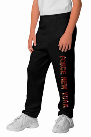 Force Soccer FC New York Youth sweatpants-Bling Sweatpants Beckys-Boutique.com Black Extra-Small